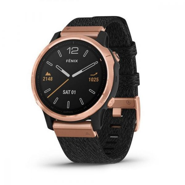 Garmin Fenix 6S Pro Sapphire Rose Gold with Heathered Black Nylon Band