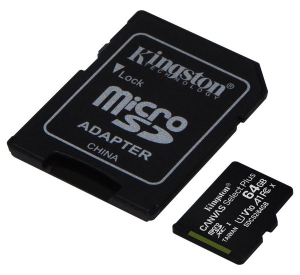 Kingston 64 GB microSDXC Class 10 UHS-I Canvas Select Plus + SD Adapter SDCS2/64GB