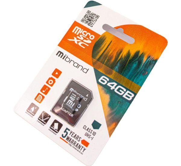 Mibrand 64 GB microSDXC Class 10 UHS-I + SD Adapter MICDXU1/64GB-A