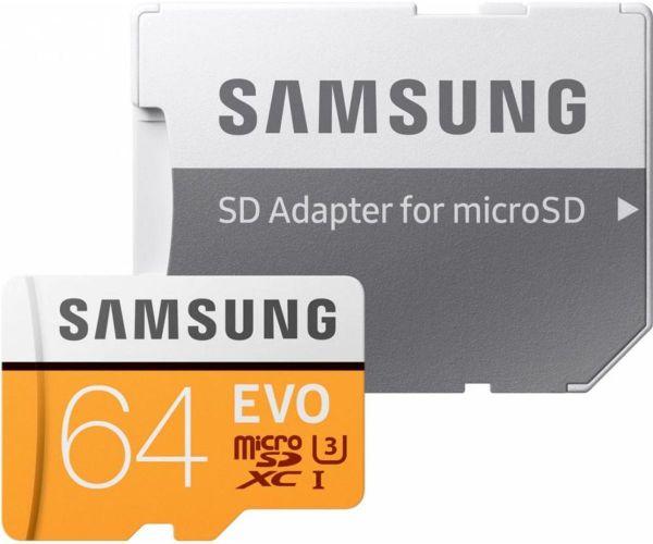 Samsung 64 GB microSDXC Class 10 UHS-I U3 EVO + SD Adapter MB-MP64GA