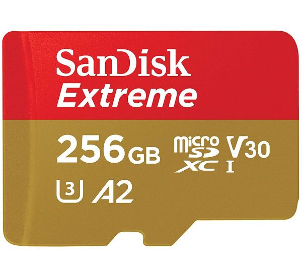 SanDisk 256 GB microSDXC UHS-I U3 Extreme A2 + SD Adapter SDSQXA1-256G-GN6MA
