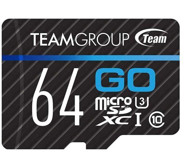TEAM 64 GB microSDXC UHS-I U3 GO + SD Adapter TGUSDX64GU303